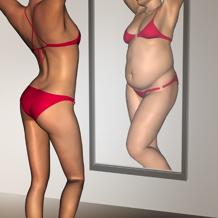 50237648 - conceptual 3d woman, girl as fat overweight vs fit healthy underweight anorexic female before and after diet in mirror